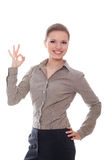 Lovely woman showing ok sign. Isolated white background stock photo