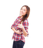 Lovely woman showing ok sign against white background Royalty Free Stock Photos