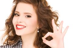 Lovely woman showing ok sign Royalty Free Stock Photography