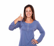 Lovely woman showing ok sign with thumb up Royalty Free Stock Photo