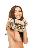 Lovely woman with small handbag Stock Photography