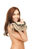 Lovely woman with small handbag Stock Photo
