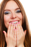 Lovely woman smiling showing nails design Stock Photos