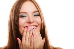Lovely woman smiling showing nails design Stock Photography