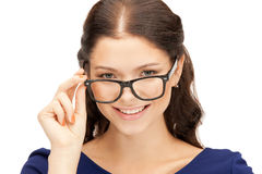 Lovely woman in spectacles royalty free stock photos