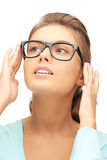 Lovely woman in spectacles. Closeup picture of lovely woman in spectacles Stock Image