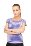 Lovely woman in striped sweater Royalty Free Stock Photo