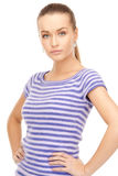Lovely woman in striped sweater Royalty Free Stock Photos