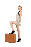 Lovely woman with suitcase Royalty Free Stock Photo