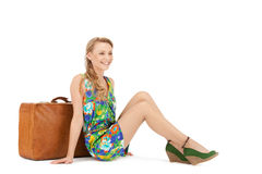 Lovely woman with suitcase Royalty Free Stock Photos
