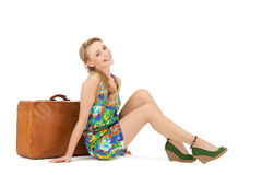Lovely woman with suitcase Royalty Free Stock Image