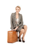 Lovely woman with suitcase Royalty Free Stock Photography