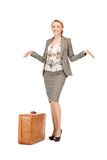 Lovely woman with suitcase Stock Photography
