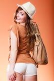 Lovely woman in summer hat handbag portrait Stock Photo