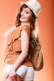 Lovely woman in summer hat handbag portrait Royalty Free Stock Images