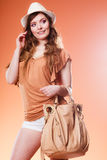 Lovely woman in summer hat handbag portrait Royalty Free Stock Photography