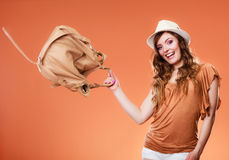 Lovely woman in summer hat handbag portrait Royalty Free Stock Image