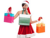 Lovely woman take shopping bags with happy smile face isolated o Royalty Free Stock Photography