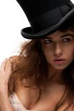 Lovely woman in top hat Stock Images