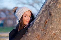 Lovely woman wear winter knitted cap Stock Photo