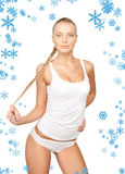 Lovely woman in white cotton underwear. Picture of lovely woman in white cotton underwear stock photo