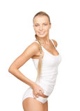 Lovely woman in white cotton underwear Stock Image