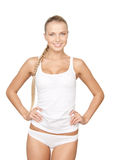 Lovely woman in white cotton underwear. Picture of lovely woman in white cotton underwear Royalty Free Stock Photos