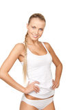 Lovely woman in white cotton underwear Royalty Free Stock Photos