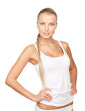 Lovely woman in white cotton underwear. Picture of lovely woman in white cotton underwear Royalty Free Stock Photography