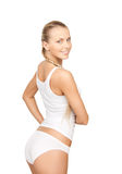 Lovely woman in white cotton underwear. Picture of lovely woman in white cotton underwear Royalty Free Stock Image