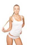 Lovely woman in white cotton underwear Royalty Free Stock Image