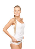 Lovely woman in white cotton underwear Stock Photos