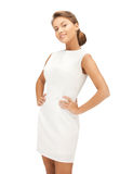 Lovely woman in white dress Stock Photography