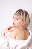 Lovely woman in a white shirt Royalty Free Stock Images