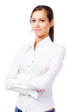 Lovely woman in white shirt Stock Image