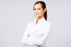 Lovely woman in white shirt Stock Photography