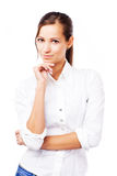 Lovely woman in white shirt Royalty Free Stock Photo