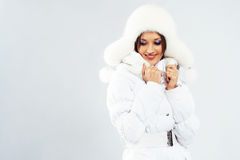 Lovely woman in winter clothing Royalty Free Stock Photos