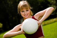 Lovely Woman With A Ball Stock Images