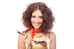 Lovely Woman With A Jelly Cake Stock Photo