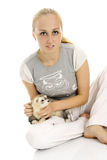 Lovely woman with young ferret. Stock Image