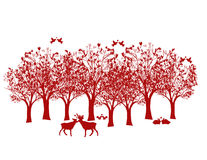 Lovely Woods. Illustration for Valentine's day of woodland animals and birds surrounded by trees with abstract heart shaped leaves vector illustration