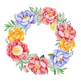Lovely wreath with peony,rose,leaves,flowers,branches and berries. Watercolor bouquet for your design.Perfect for wedding,invitations,blogs,template card stock illustration