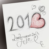Lovely year 2013. Happy new year card with heart stock illustration