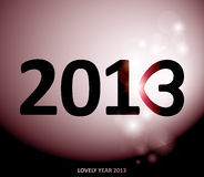Lovely year 2013. Happy new year card with number three like heart Royalty Free Stock Image