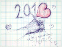 Lovely year 2013. Drawn sketches on squared paper Royalty Free Stock Photo