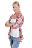 Lovely young blond woman in casual clothing Stock Photos