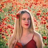 Lovely young blonde girl in a poppy field at sunset. Light. Happiness and beauty people concept stock images