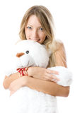 Lovely young blondie girl with teddy bear Stock Photography