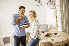 Lovely young couple eating pizza Royalty Free Stock Image
